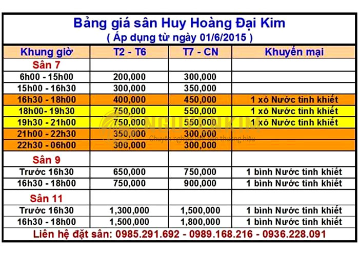 Giá đá sân bóng Huy Hoàng Đại Kim
