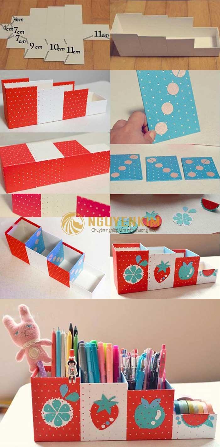 Hướng dẫn làm hộp bút bằng giấy