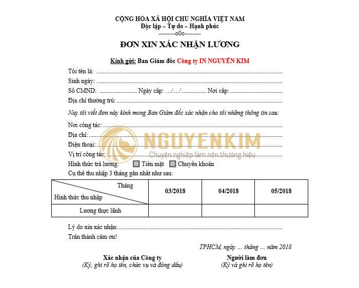 Mẫu 2 - giấy xác nhận lương